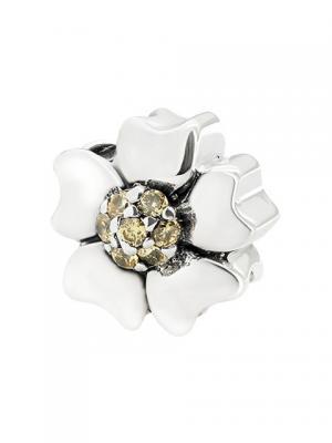 Цветок с кристаллами желтый Sun&Moon Charm. Цвет: серебристый