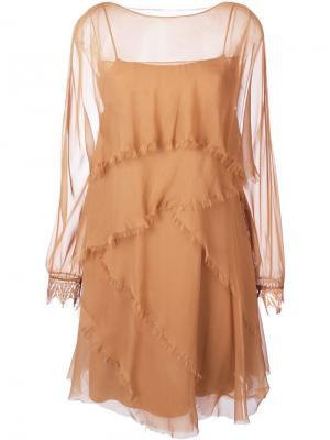 Платье с необработанными краями Alberta Ferretti. Цвет: коричневый