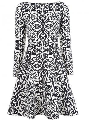Расклешенное платье с орнаментом Lela Rose. Цвет: чёрный