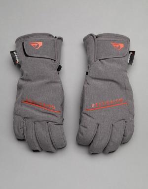 Quiksilver Серые горнолыжные перчатки Freefall. Цвет: серый