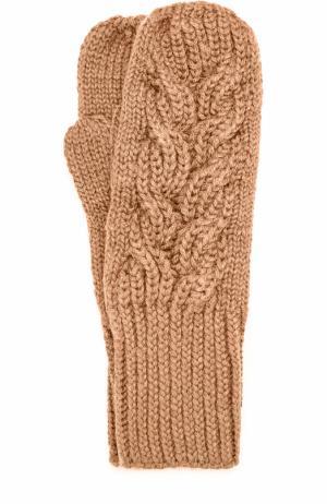 Шерстяные варежки фактурной вязки Karakoram accessories. Цвет: темно-бежевый