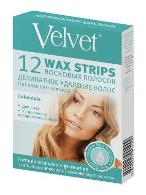 Velvet Восковые полоски для лица Деликатное удаление волос. Цвет: белый