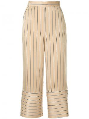 Cropped stripe trousers Dalood. Цвет: коричневый