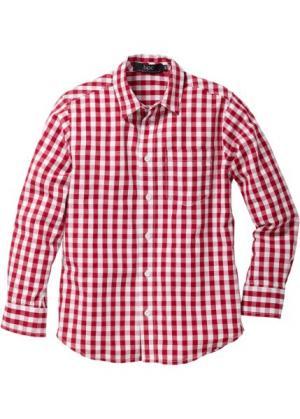 Рубашка в клетку (темно-красный/белый клетку) bonprix. Цвет: темно-красный/белый в клетку