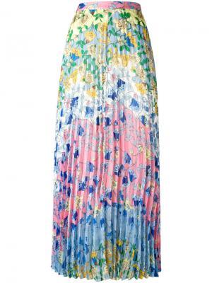 Плиссированная юбка с цветочным узором Dondup. Цвет: синий
