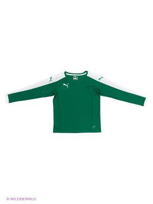 Лонгслив Pitch Longsleeved Shirt Puma. Цвет: зеленый, белый