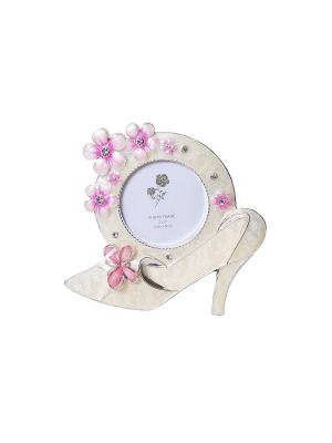 Минирамка Туфелька 5х5см металлическая со стразами PLATINUM quality. Цвет: белый, розовый