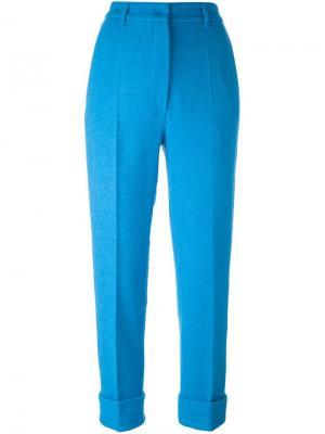 Укороченные брюки со складками Hache. Цвет: синий