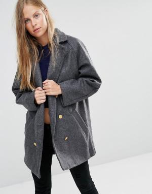 Ganni Шерстяное двубортное пальто‑бушлат Malin. Цвет: белый