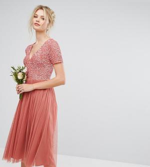 Maya Tall Платье миди с отделкой на лифе и юбкой из тюля. Цвет: розовый