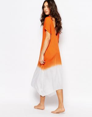 Akasa Пляжное платье с глубоким вырезом сзади и эффектом омбре. Цвет: розовый