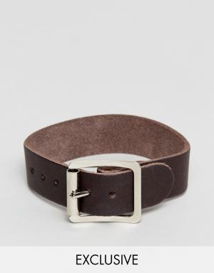 Reclaimed Vintage Светло-коричневый кожаный браслет Inspired. Цвет: рыжий