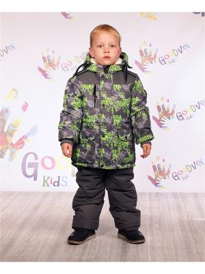 Комплект (куртка, ПК) зимний для мальчика Матвей GooDvinKids. Цвет: салатовый, серый