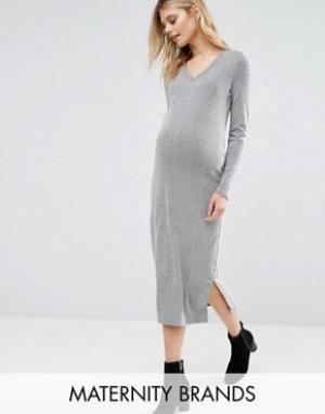 Mama.licious Платье миди для беременных в полоску Mamalicious Maternity Mellow. Цвет: серый