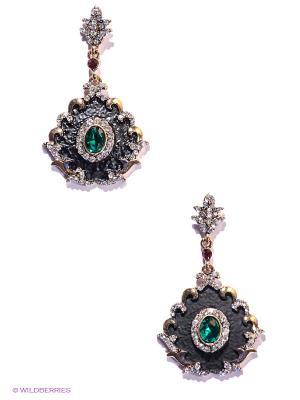 Серьги Lovely Jewelry. Цвет: черный, зеленый, золотистый