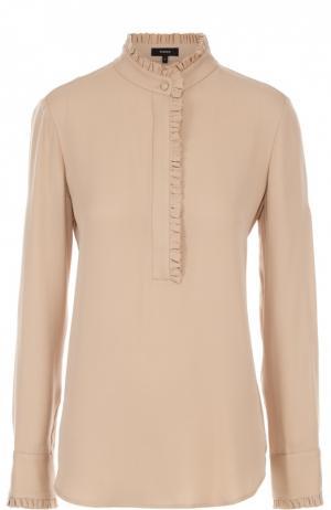 Шелковая блуза прямого кроя с воротником-стойкой Theory. Цвет: бежевый