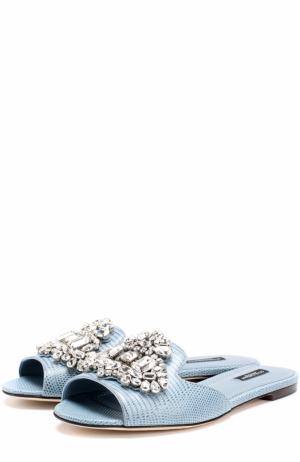 Кожаные сабо с кристаллами Dolce & Gabbana. Цвет: синий