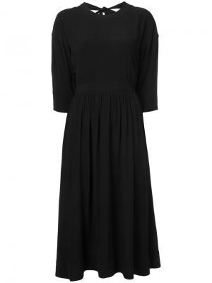 Приталенное платье миди Rosetta Getty. Цвет: чёрный