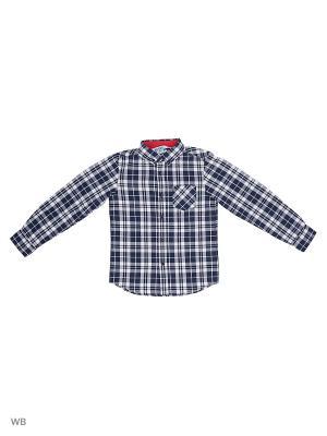 Рубашка Modis. Цвет: темно-синий, белый, светло-серый