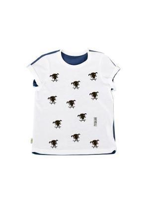 Футболка Крутой Собакен Sardina Baby. Цвет: белый, синий