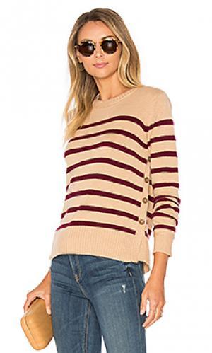 Полосатый свитер с пуговицами сбоку breton Autumn Cashmere. Цвет: цвет загара
