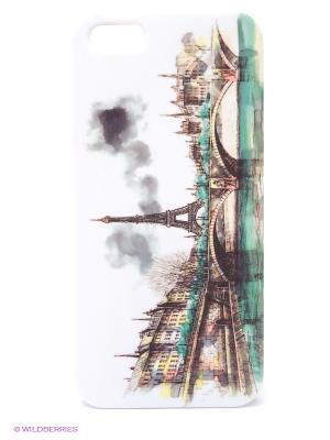 Чехол для IPhone 5 Париж в тумане Mitya Veselkov. Цвет: белый, коричневый