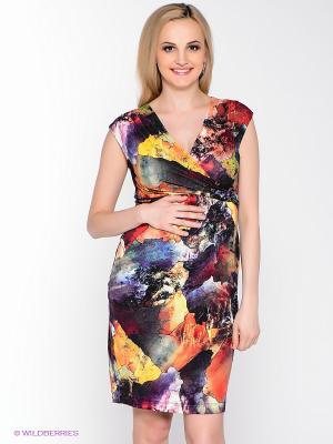 Платье UNIOSTAR. Цвет: черный, красный, оранжевый, желтый