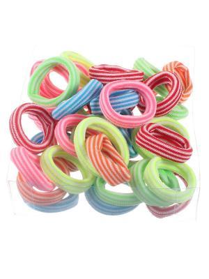 Резинки для волос разноцветные в полоску 2 см, коробка 40 штук, средней жесткости Радужки. Цвет: синий,зеленый,красный