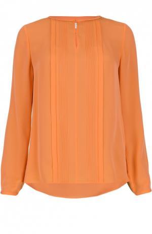 Шелковая блуза с вырезом-лодочка и фактурной отделкой Diane Von Furstenberg. Цвет: коралловый