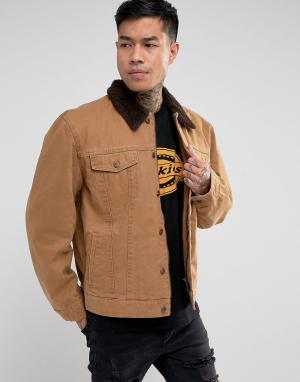 Dickies Куртка с воротником из искусственной цигейки Glenside. Цвет: коричневый