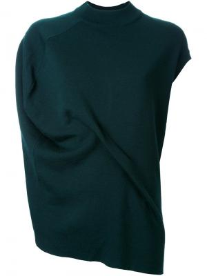 Асимметричная футболка с драпировкой Enföld. Цвет: зелёный