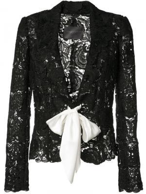 Кружевной пиджак на завязке Monique Lhuillier. Цвет: чёрный