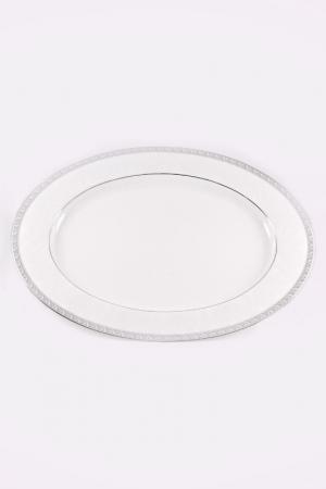 Блюдо овальное 32 см Narumi. Цвет: белый, платина
