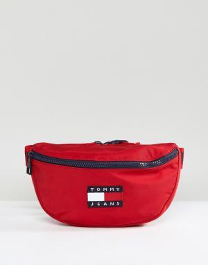 Tommy Jeans Красная сумка-кошелек на пояс с логотипом в стиле 90-х Cap. Цвет: красный