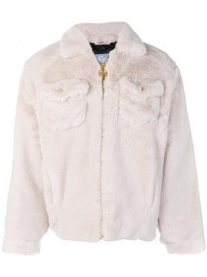 Фактурная куртка на молнии Gcds. Цвет: белый