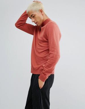ASOS Хлопковый джемпер рыжего цвета с высоким воротом. Цвет: коричневый