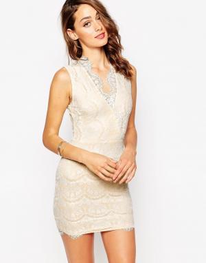 Sistaglam Кружевное платье мини с запахом Myra. Цвет: бежевый