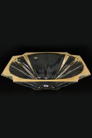 Фруктовница на ножке 33 см Bohemia. Цвет: прозрачный, золотой
