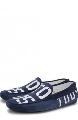 Замшевые мокасины с логотипом бренда Tod's. Цвет: синий