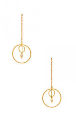 Свисающие серьги с кольцами eclipse Luv AJ. Цвет: металлический золотой