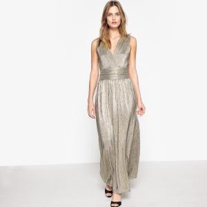 Платье длинное блестящее, декольте спереди, застежка на молнию MADEMOISELLE R. Цвет: золотистый,серебристый