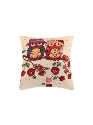 Подушка декоративная Совята EL CASA. Цвет: бежевый, красный, коричневый, фиолетовый