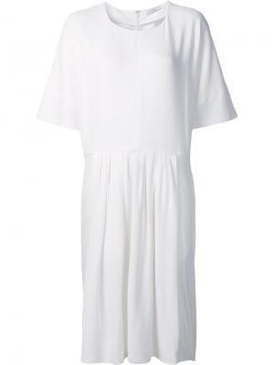 Платье с плиссировкой Tome. Цвет: белый