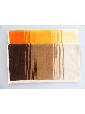 Полотенца банные, 2 шт A and C Collection. Цвет: оранжевый, коричневый