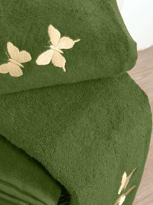 Махровое полотенце Тет-а-Тет. Цвет: темно-зеленый
