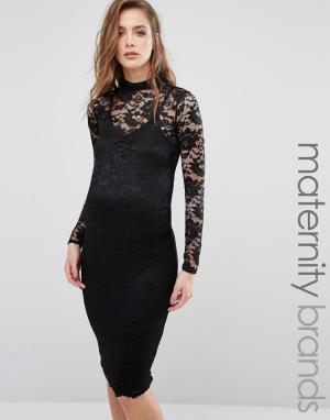 Missguided Maternity Кружевное облегающее платье для беременных. Цвет: черный