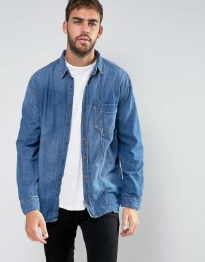 Nudie Jeans Джинсовая рубашка с карманом Co Calle. Цвет: синий