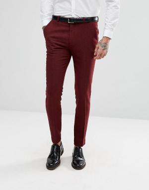 ASOS Супероблегающие брюки винного цвета Wedding. Цвет: красный