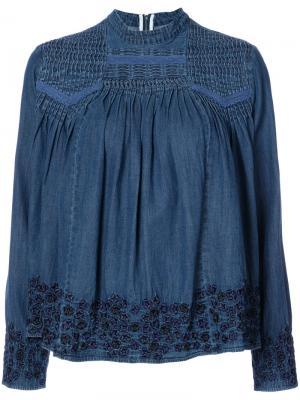 Джинсовая блузка с вышивкой Needle & Thread. Цвет: синий