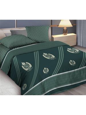 Комплект постельного белья Евро бязь Gallant Wenge. Цвет: зеленый